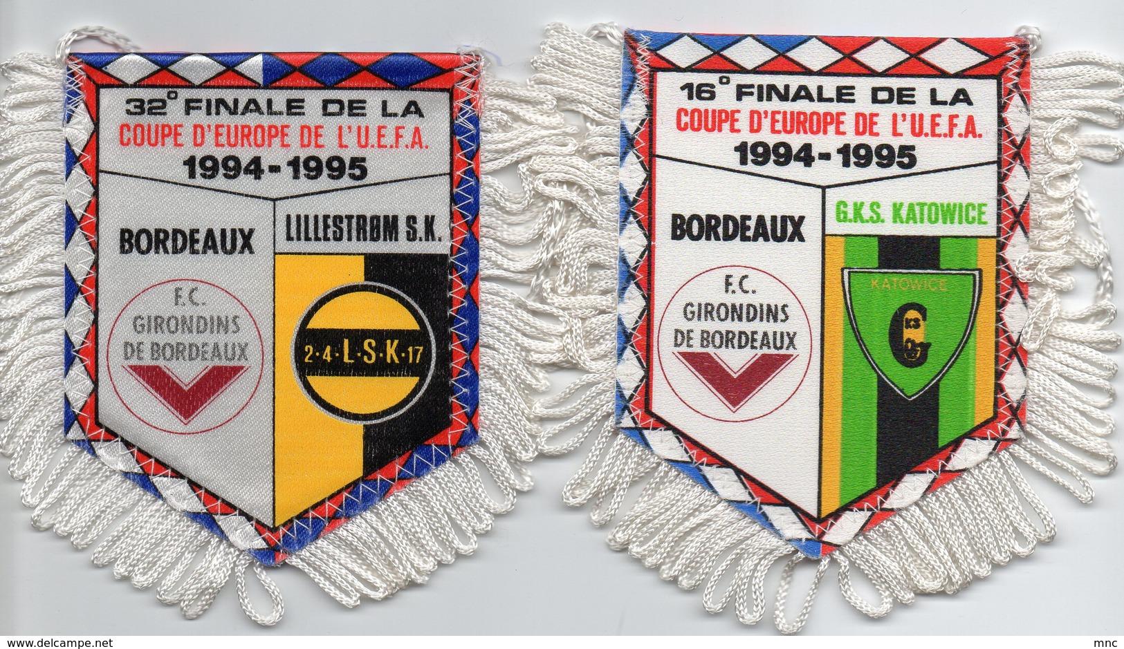 Lot De 2 Fanions Des Girondins De Bordeaux UEFA 1994/1995 - Habillement, Souvenirs & Autres