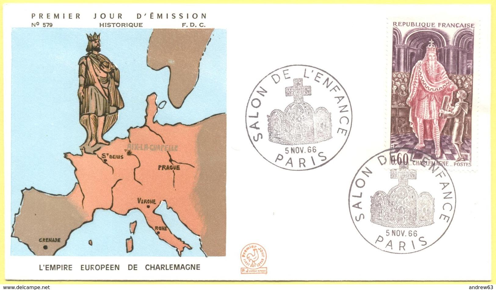 FRANCIA - France - 1966 - Charlemagne - Histoire De France - Salon De L'enfance - Paris - FDC - FDC