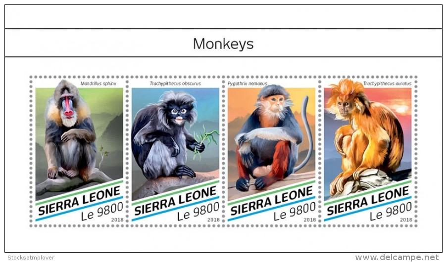 SIERRA LEONE 2018  Monkeys S201807 - Sierra Leone (1961-...)