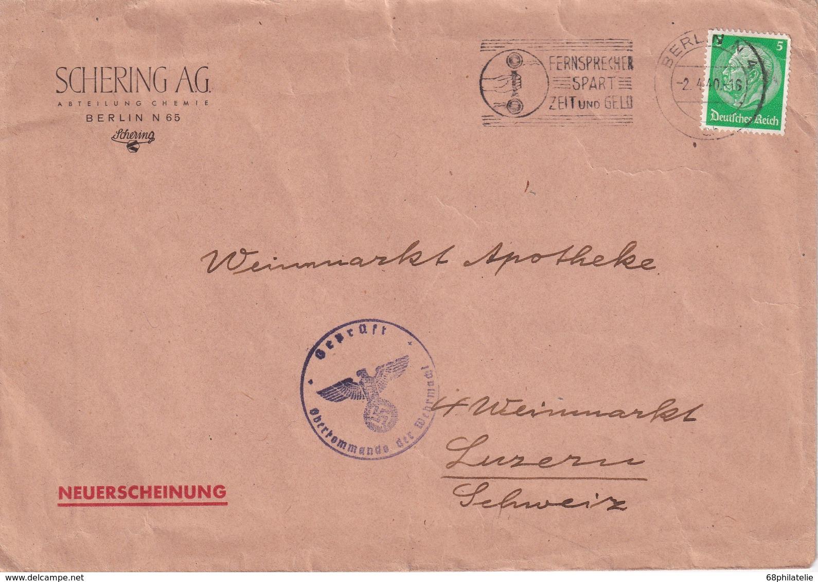 ALLEMAGNE 1940 LETTRE CENSUREE DE BERLIN POUR LUCERNE - Deutschland