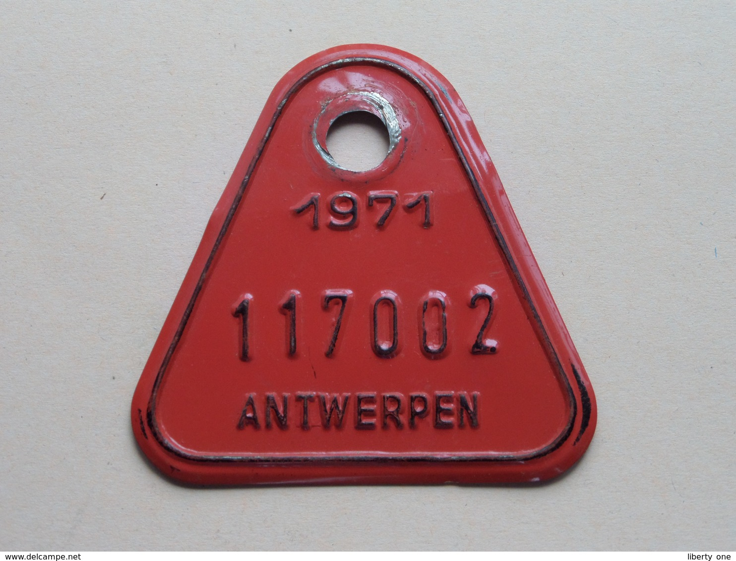 FIETSPLAAT / PLAQUE Vélo ( Antwerpen Nr. 117002 ) Anno 1971 ( België ) ! - Targhe Di Immatricolazione