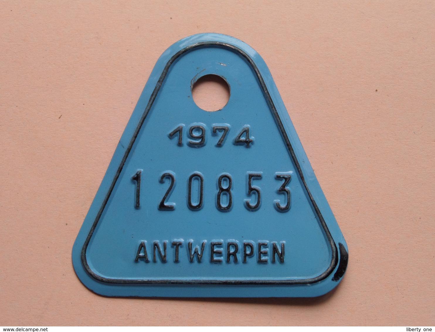 FIETSPLAAT / PLAQUE Vélo ( Antwerpen Nr. 120853 ) Anno 1974 ( België ) ! - Kennzeichen & Nummernschilder