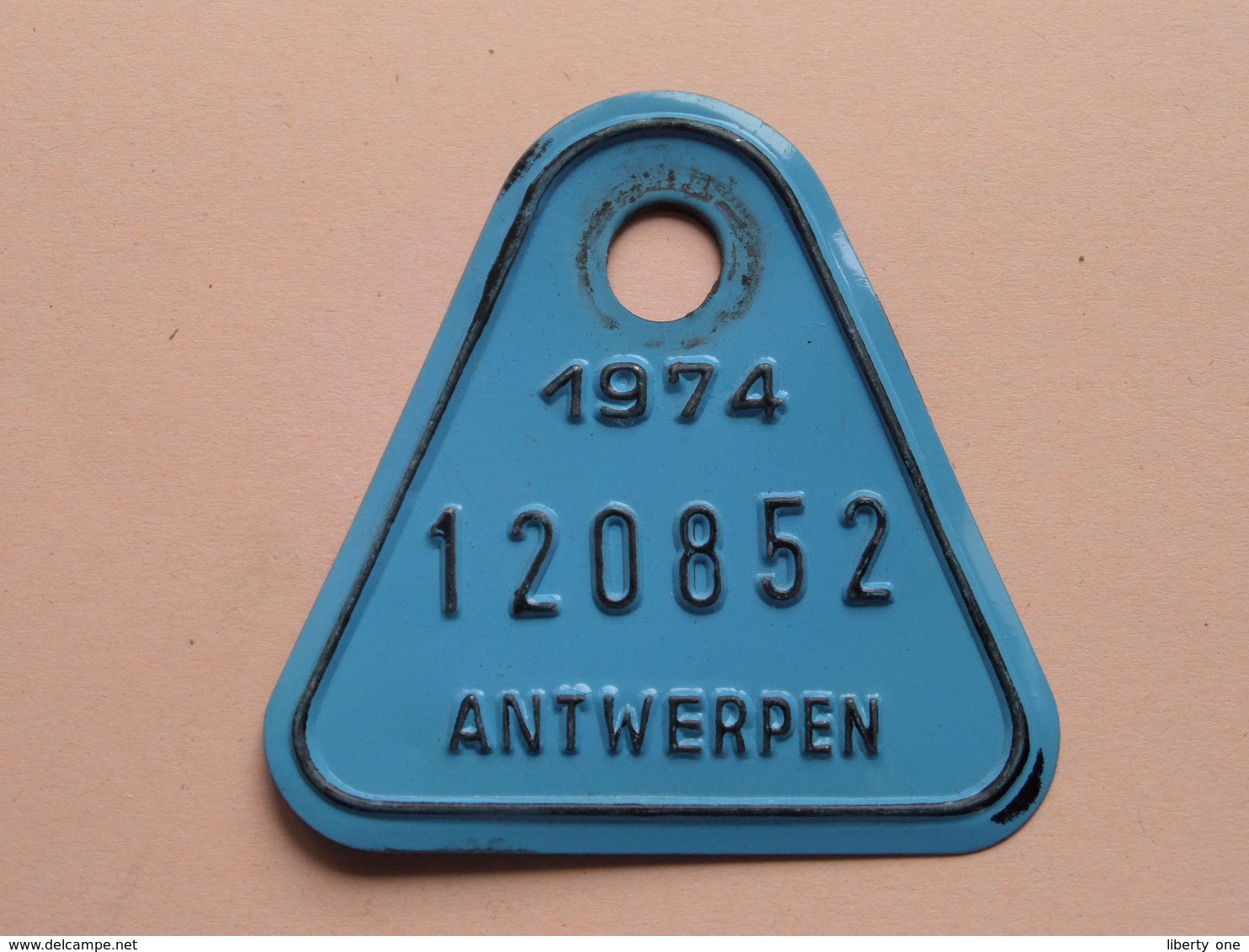 FIETSPLAAT / PLAQUE Vélo ( Antwerpen Nr. 120852 ) Anno 1974 ( België ) ! - Plaques D'immatriculation