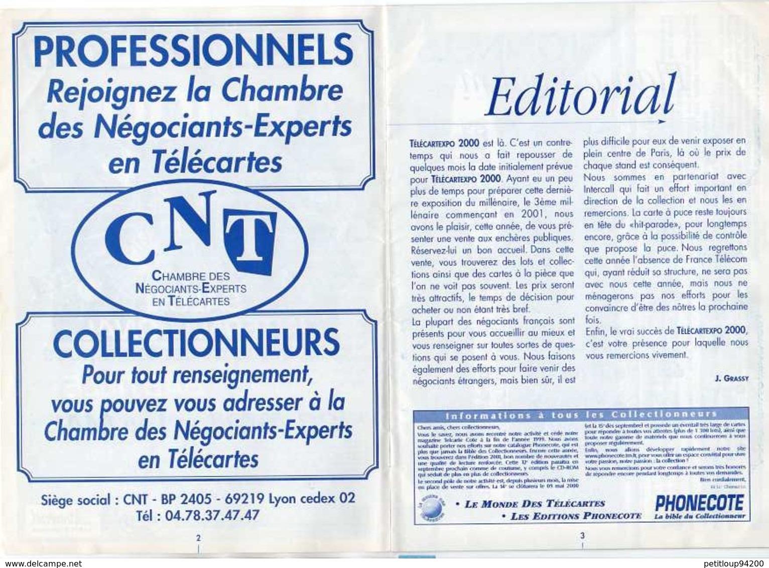 GUIDE VENTE AUX ENCHERES PUBLIQUES Télécartexpo 2000  AVRIL 2000 - Telefonkarten