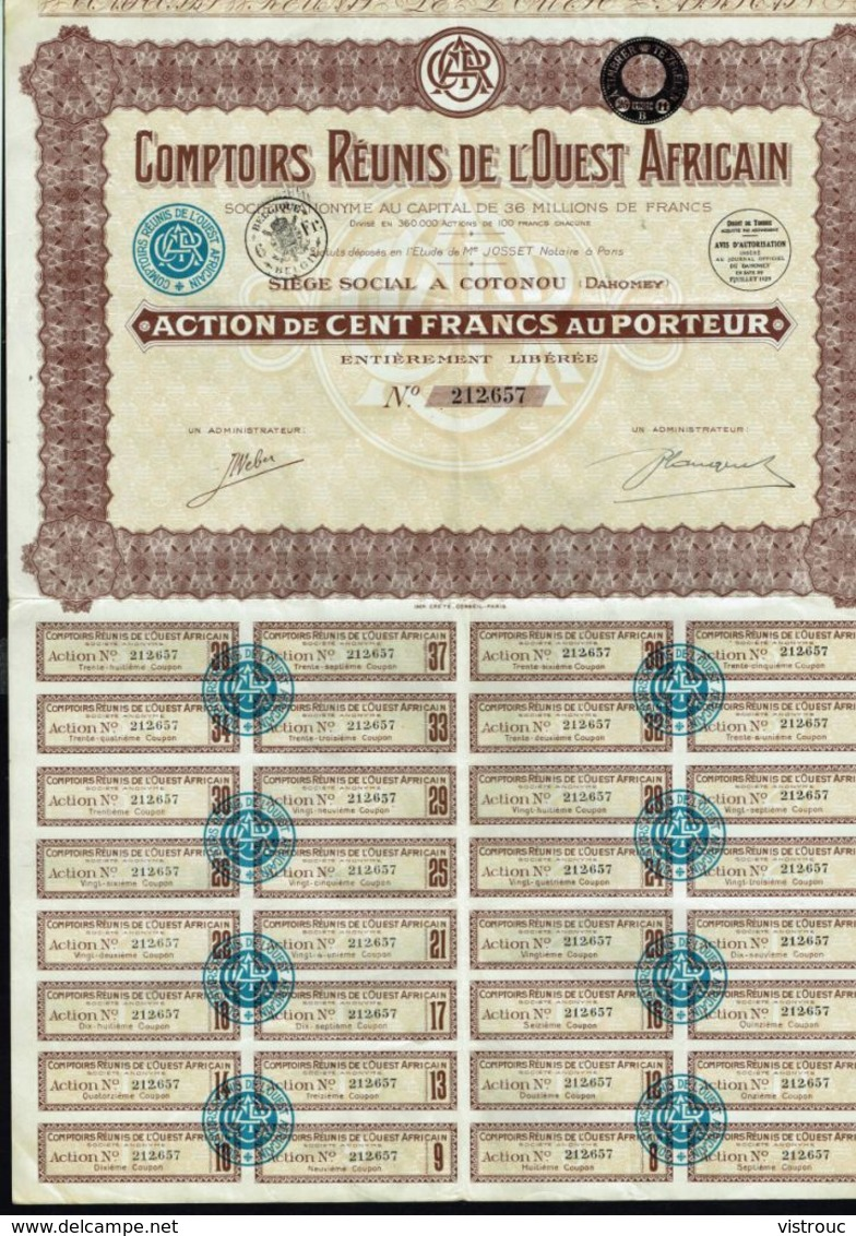 COMPTOIRS REUNIS DE L'OUEST AFRICAIN - Action De 100 Francs - Cotonou - DAHOMEY. - Actions & Titres