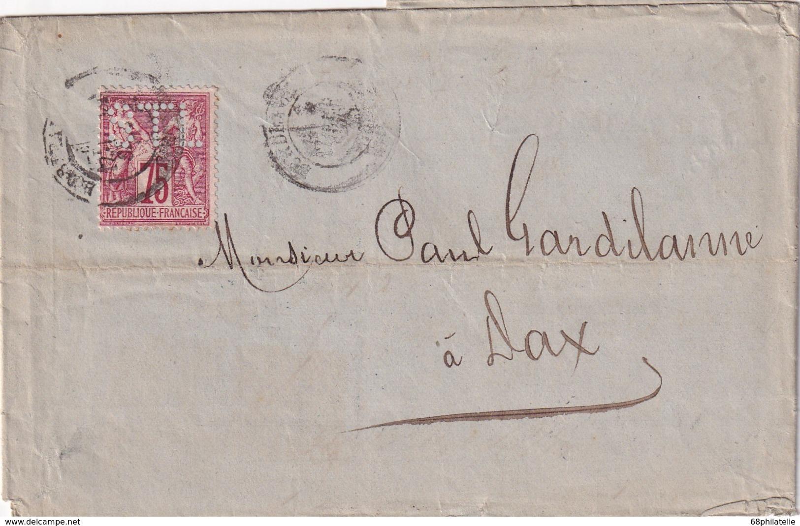 FRANCE 1880 LETTRE DE BORDEAUX AVEC TIMBRE PERFORE STL - France