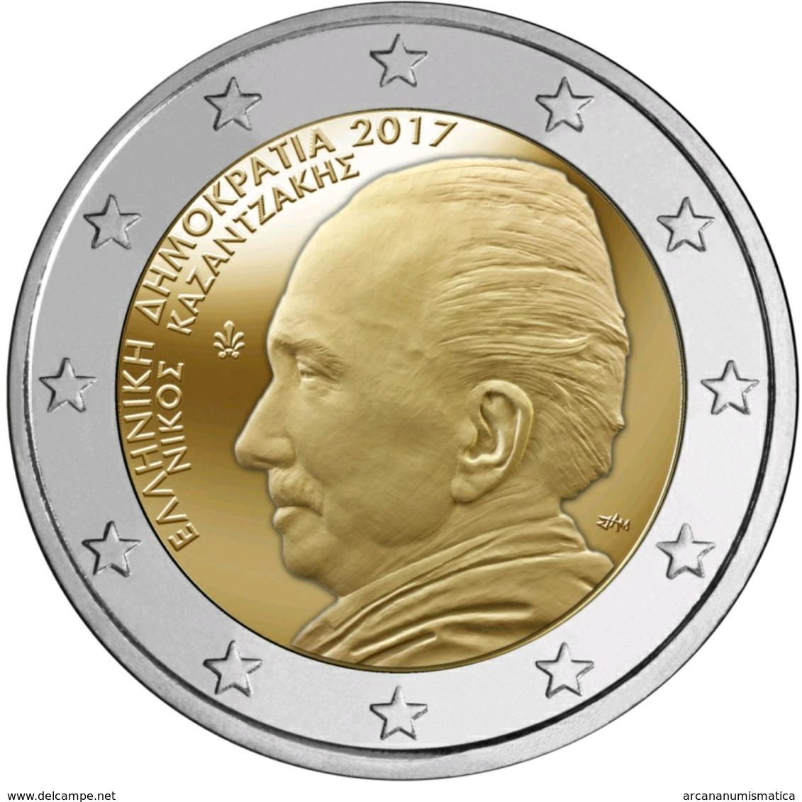"""GRECIA 2€ BIMETÁLICA  2.017  2017  """"60 Años Del Fallecimiento De Nikos Kazantzakis""""  SC/UNC  T-DL-12,221 - Greece"""