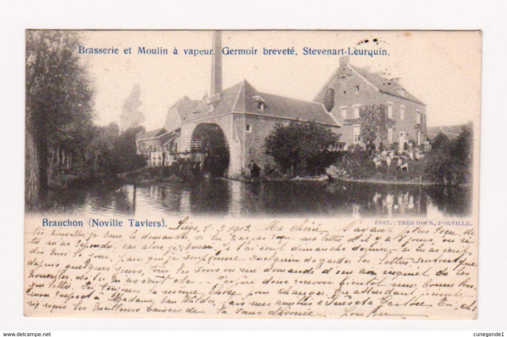 BRANCHON ( Noville Taviers ) BRASSERIE Et MOULIN à VAPEUR - Circ. En 1903 - Ed. Théo Dock, Forville - Belgique