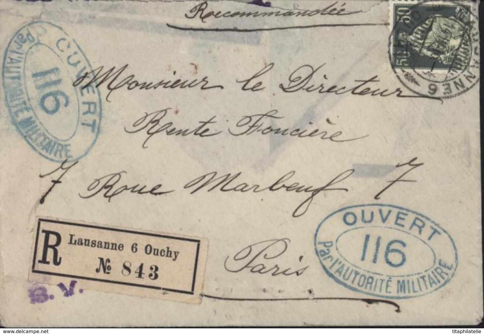 Guerre 14 18 Lettre Recommandée Censure Pontarlier 116 Ouvert Par L'autorité Militaire Bande Contrôle Postal Militaire - Marcophilie (Lettres)