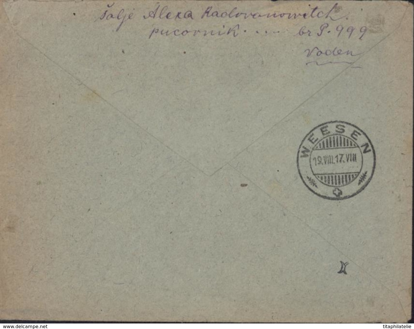 Guerre 14 18 Poste Serbie YT 140 X2 CAD Trésor Et Postes 504 3 8 17 Recommandée CAD Serbe SP96 16 7 17 Censure - Poststempel (Briefe)