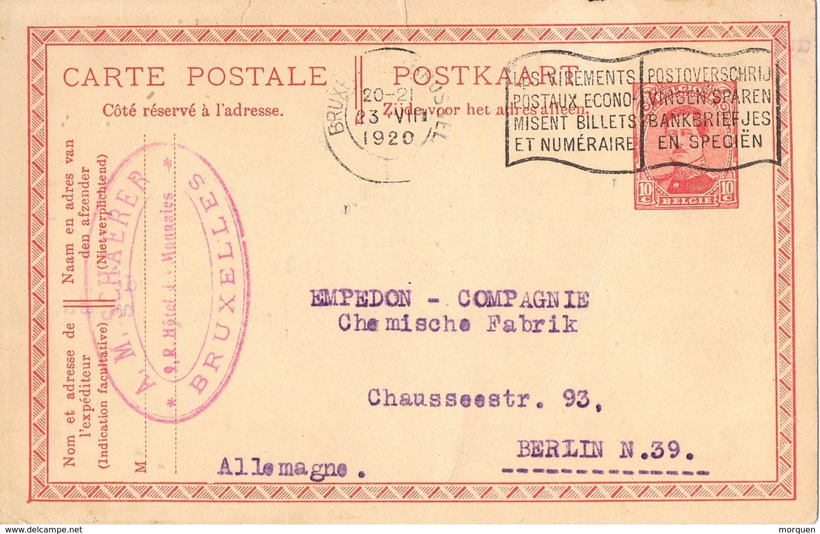 29694. Entero Postal BRUXELLES (Belgien) 1920 To Berlin - Postcards [1909-34]