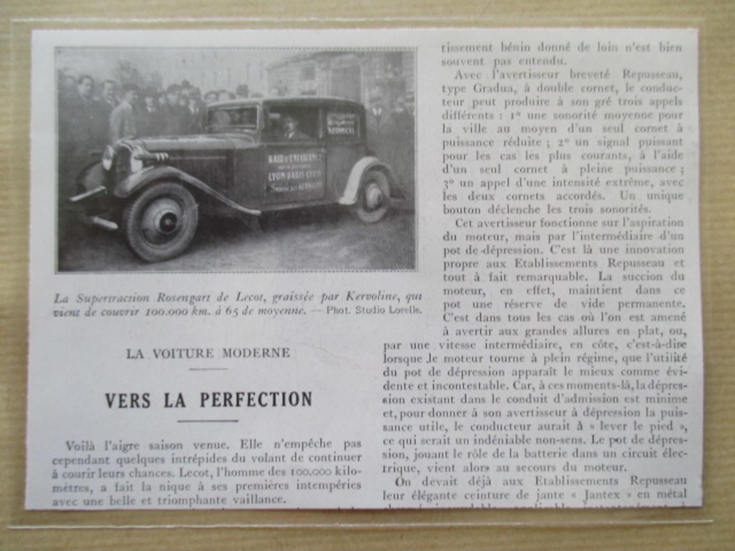 (1933) Raid Endurance Lyon Paris - Automobile ROSENGART - Coupure De Presse Originale (Encart Photo) - Documents Historiques