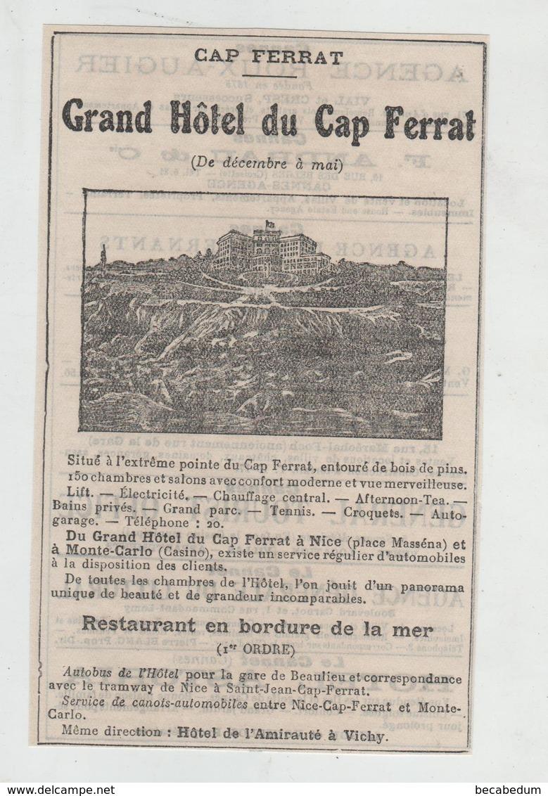 Publicité 1922 Cap Ferrat Grand Hôtel - Werbung