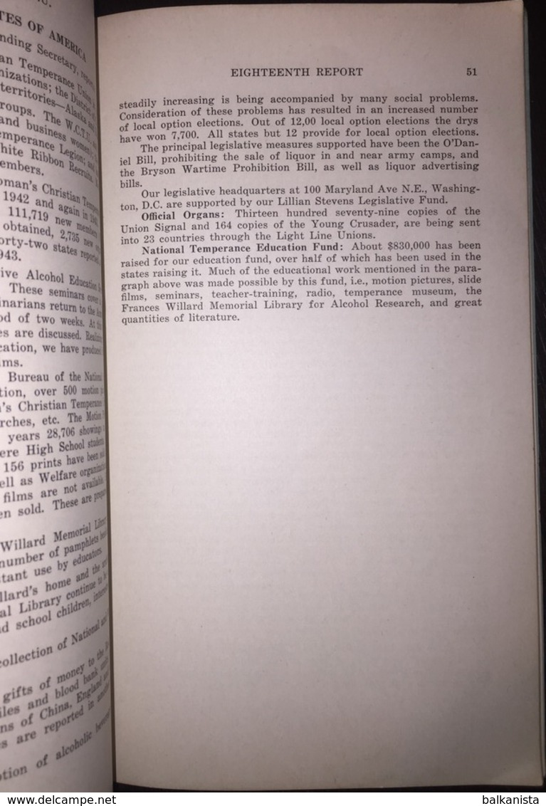 Eighteenth Report Of World's Woman's Christian Temperance Union 1944 Missionary - Christianity, Bibles