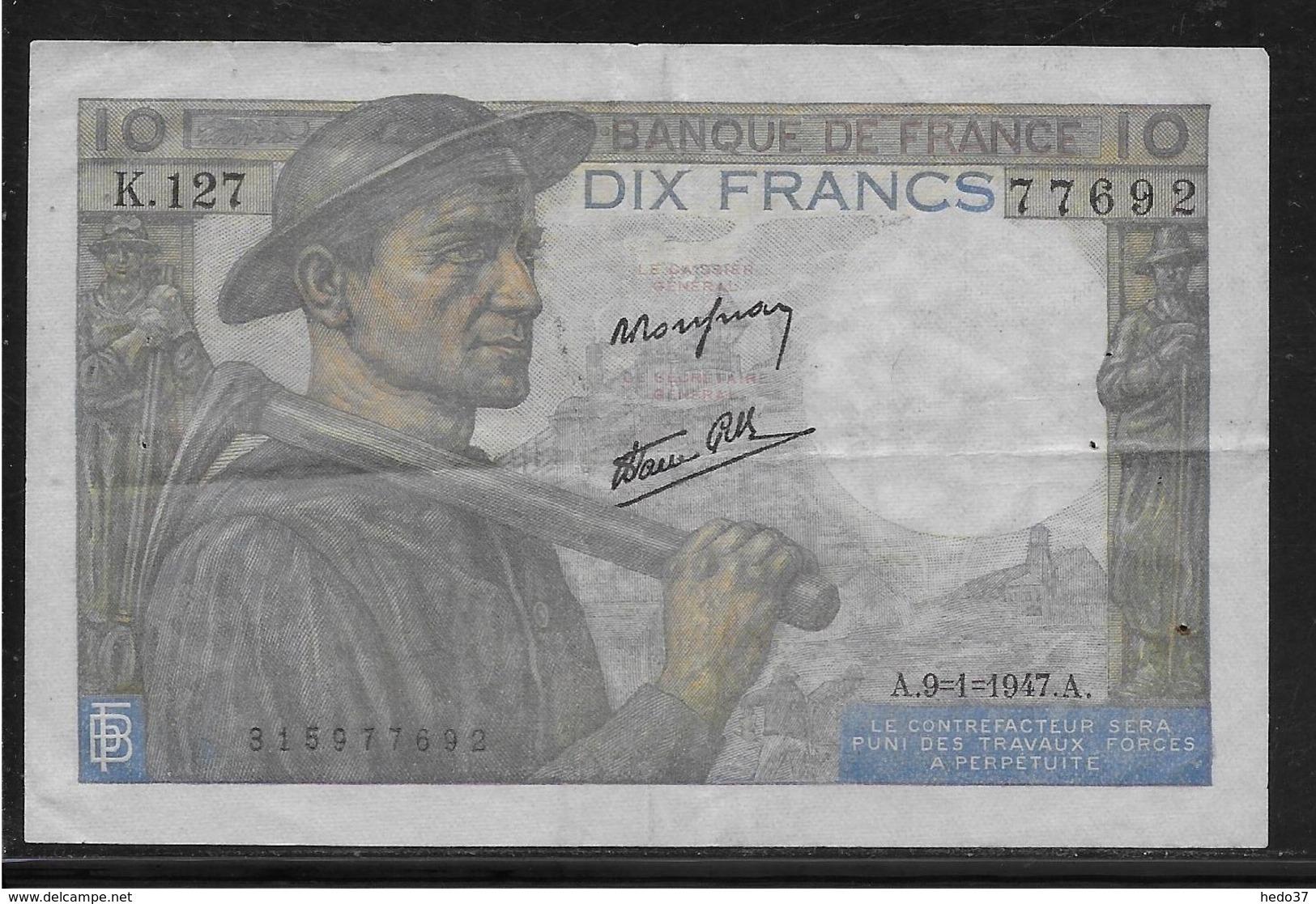 France 10 Francs Mineur - Fayette N°8-17 - TTB - 1871-1952 Circulated During XXth