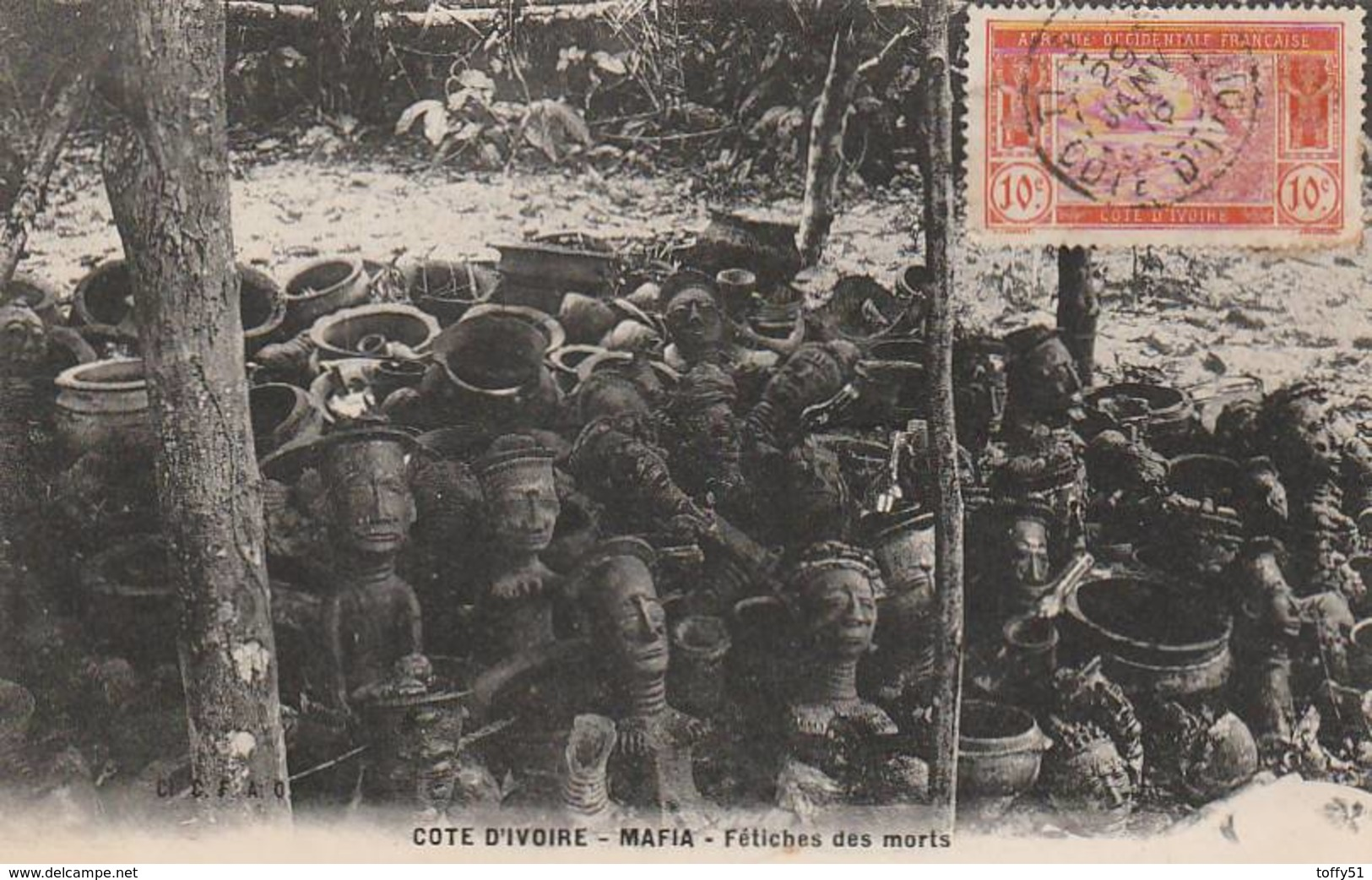 CPA:POTERIES FÉTICHES DES MORTS MAFIA CÔTE D'IVOIRE....ÉCRITE - Cartes Postales