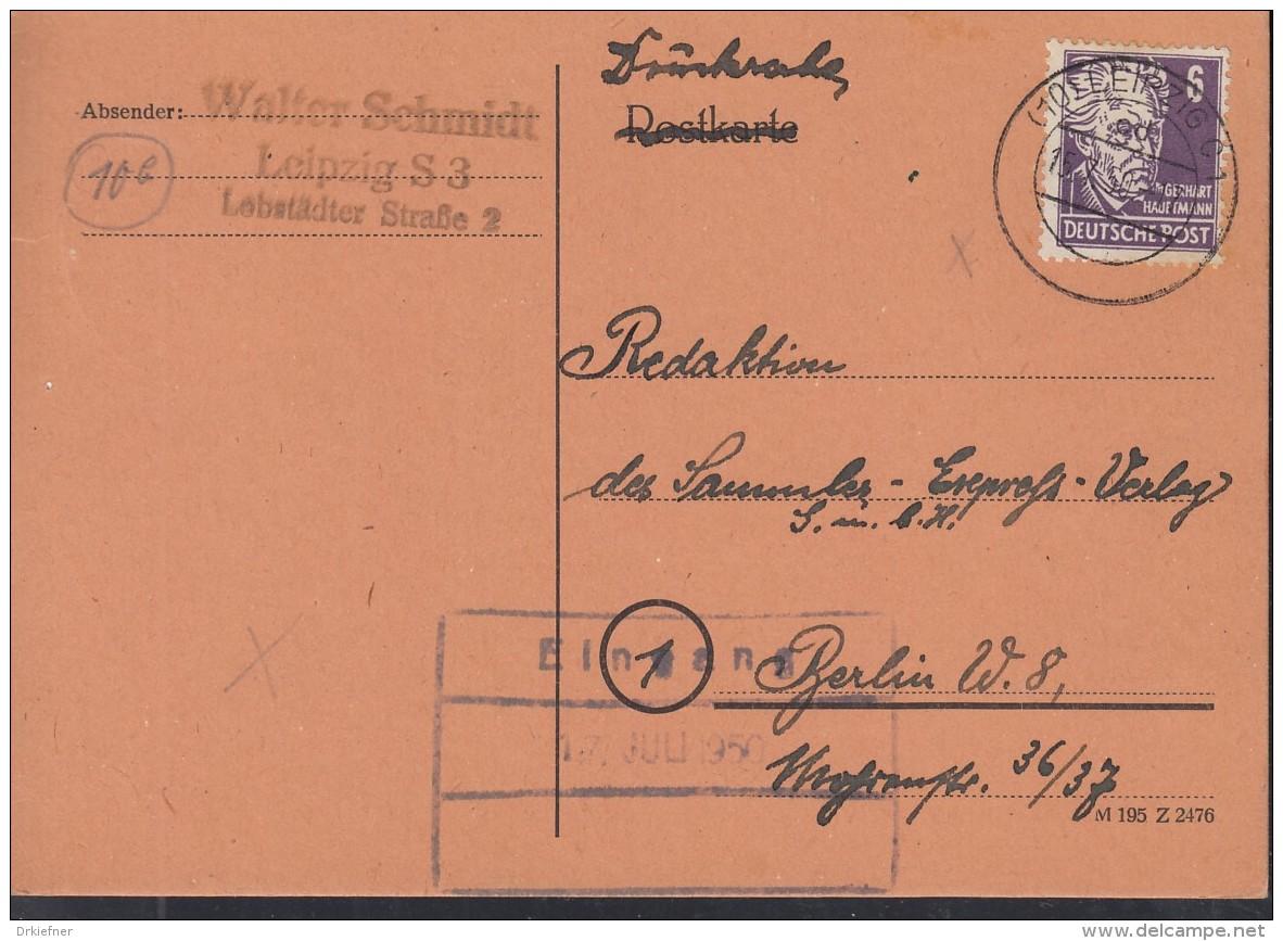 SBZ 213 A EF, Mit Sstempel: Leipzig 15.7.1950, 214 A Mit SoSt: Leipzig 1.Stadtparkrennen 9.7.1950, Rennauto - Zona Sovietica