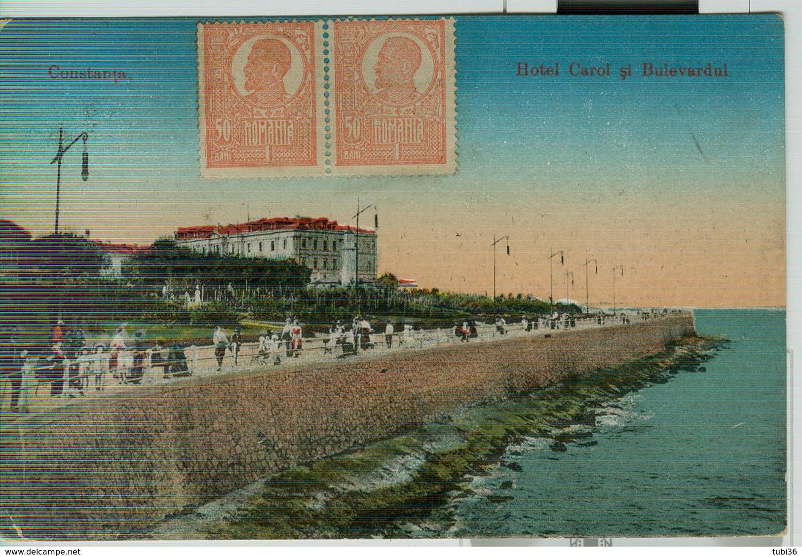 CONSTANTA - HOTEL CAROL SI BULEVARDUL - POSTCARD, CULORI ANIMATE, 1922, PENTRU GENOA (ITALIA),LEI 50 X 4 - Romania
