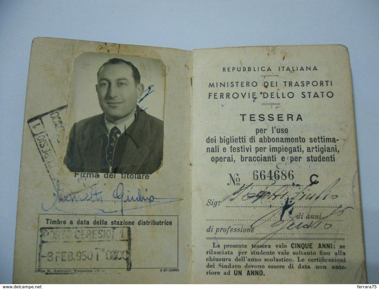 TESSERA FERROVIE DELLO STATO MINISTERO DEI TRASPORTI 1950  BRUSIMPIANO VARESE - Documents Historiques
