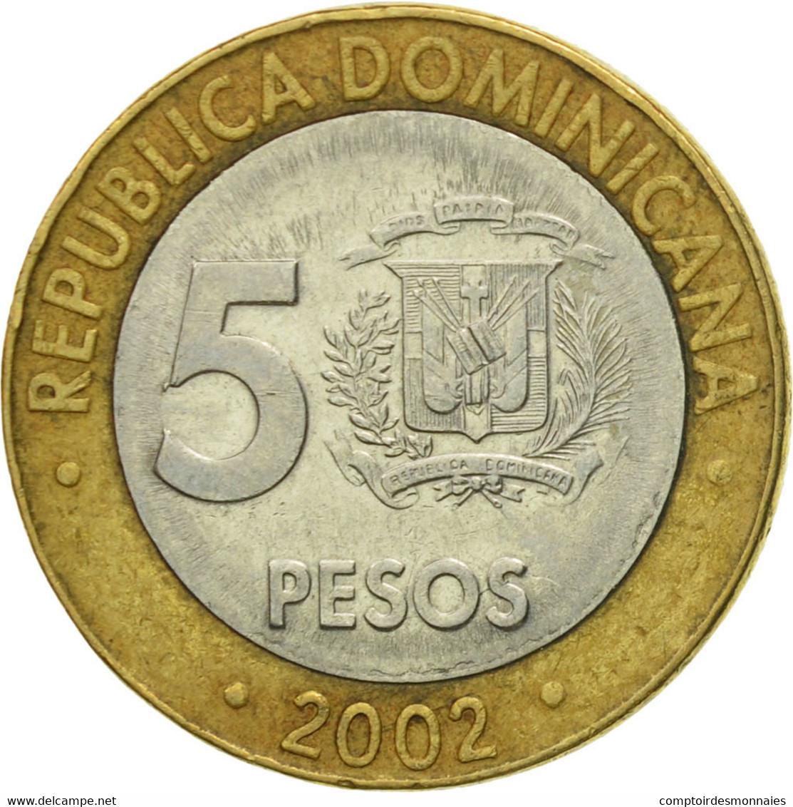 Monnaie, Dominican Republic, Franz Joseph I, 5 Pesos, 2002, TTB, Bi-Metallic - Dominicaine