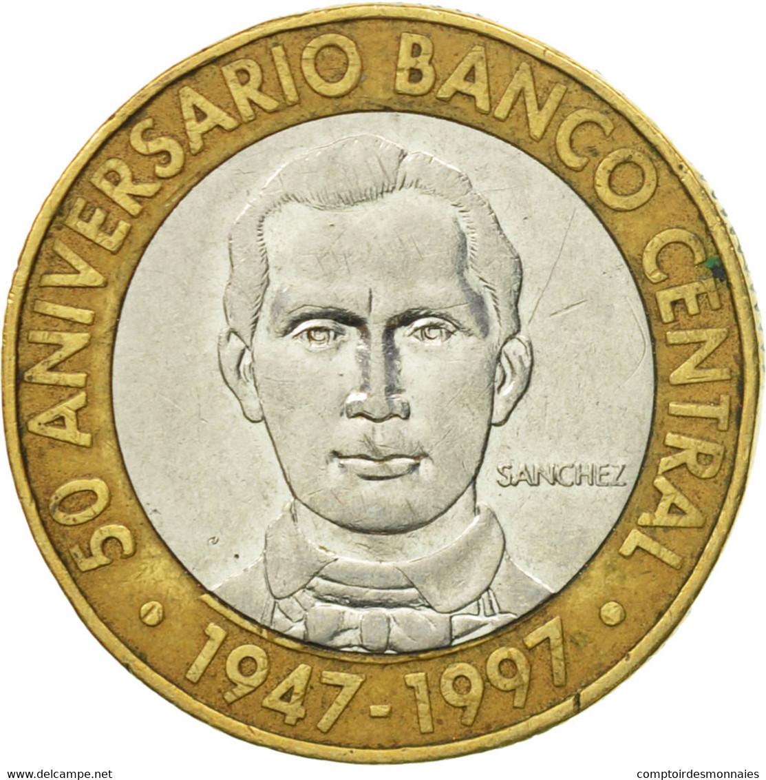 Monnaie, Dominican Republic, 5 Pesos, 1997, TB+, Bi-Metallic, KM:88 - Dominicaine