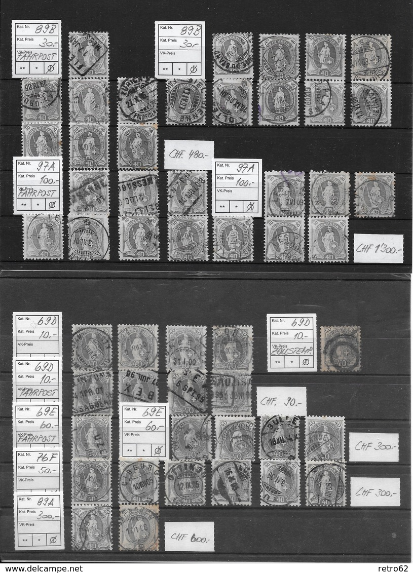 1882 - 1906 STEHENDE HELVETIA Gezähnt → SELTEN SO ANGEBOTEN ►SBK 66A BIS 100B◄ - Oblitérés