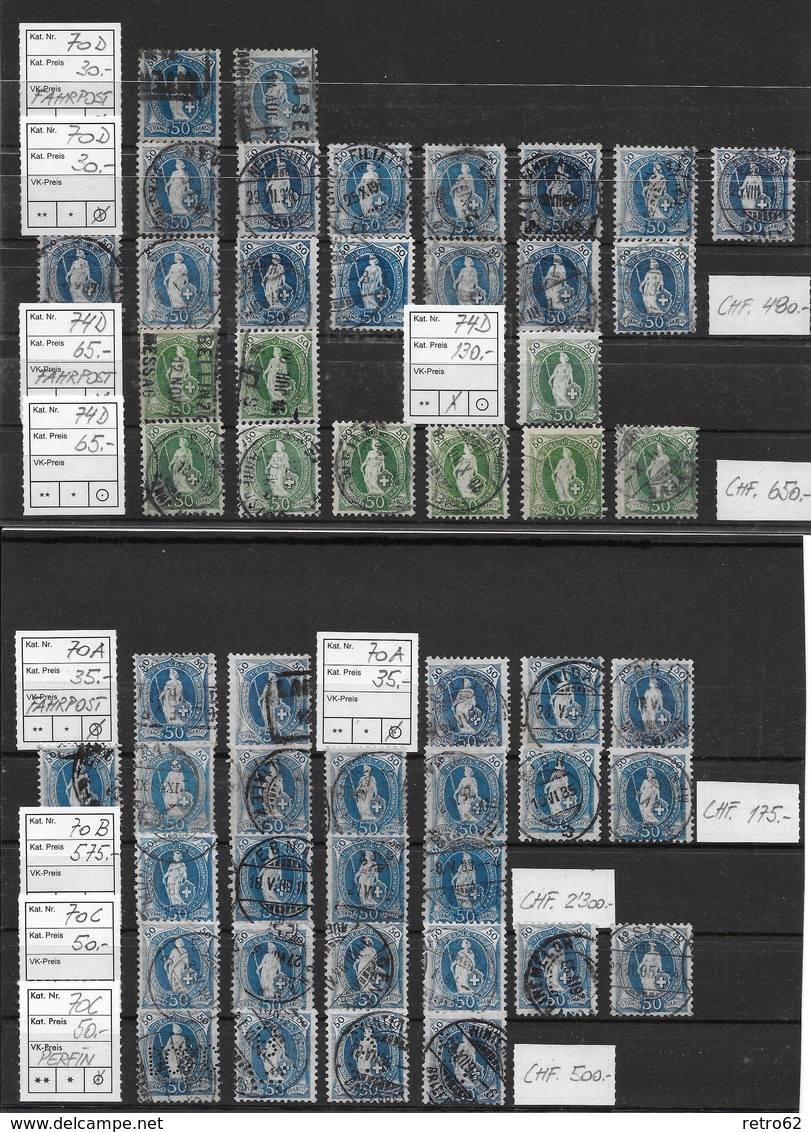 1882 - 1906 STEHENDE HELVETIA Gezähnt → SELTEN SO ANGEBOTEN ►SBK 66A BIS 100B◄ - 1882-1906 Coat Of Arms, Standing Helvetia & UPU
