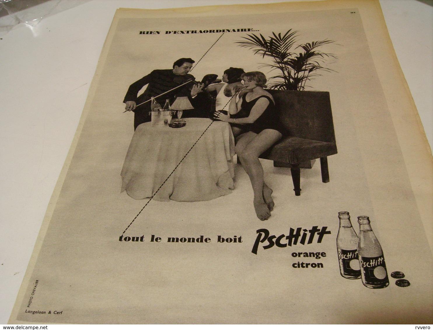 ANCIENNE PUBLICITE LIMONADE PSCHITT  1959 - Affiches