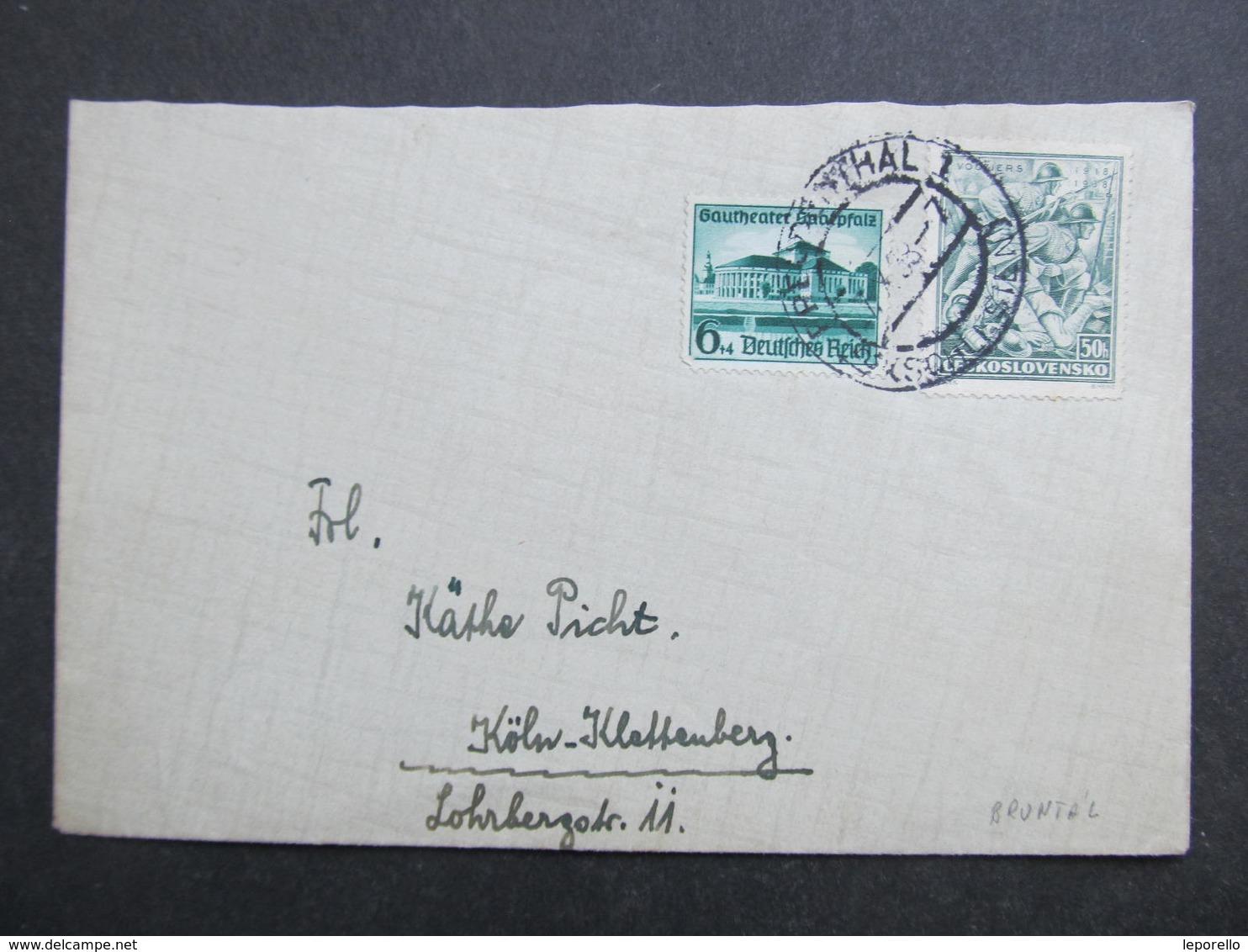 BRIEF Sudetenland 1939 Freudenthal Mischfrankatur   ////  D*33890 - Besetzungen 1938-45