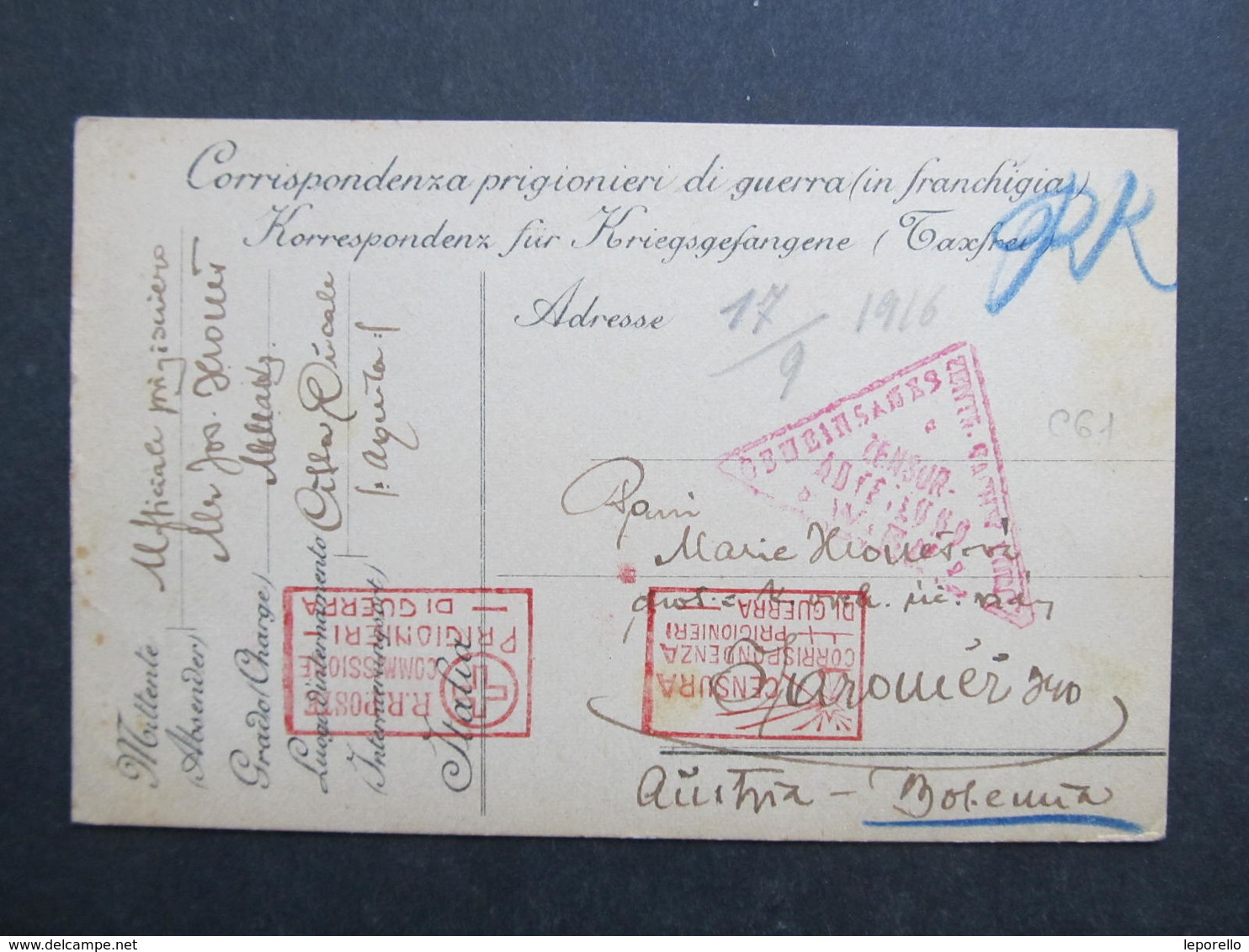 KARTE Kriegsgefangene Cittaducale - Jaromer 1916 ////  D*33899 - 1900-44 Victor Emmanuel III.