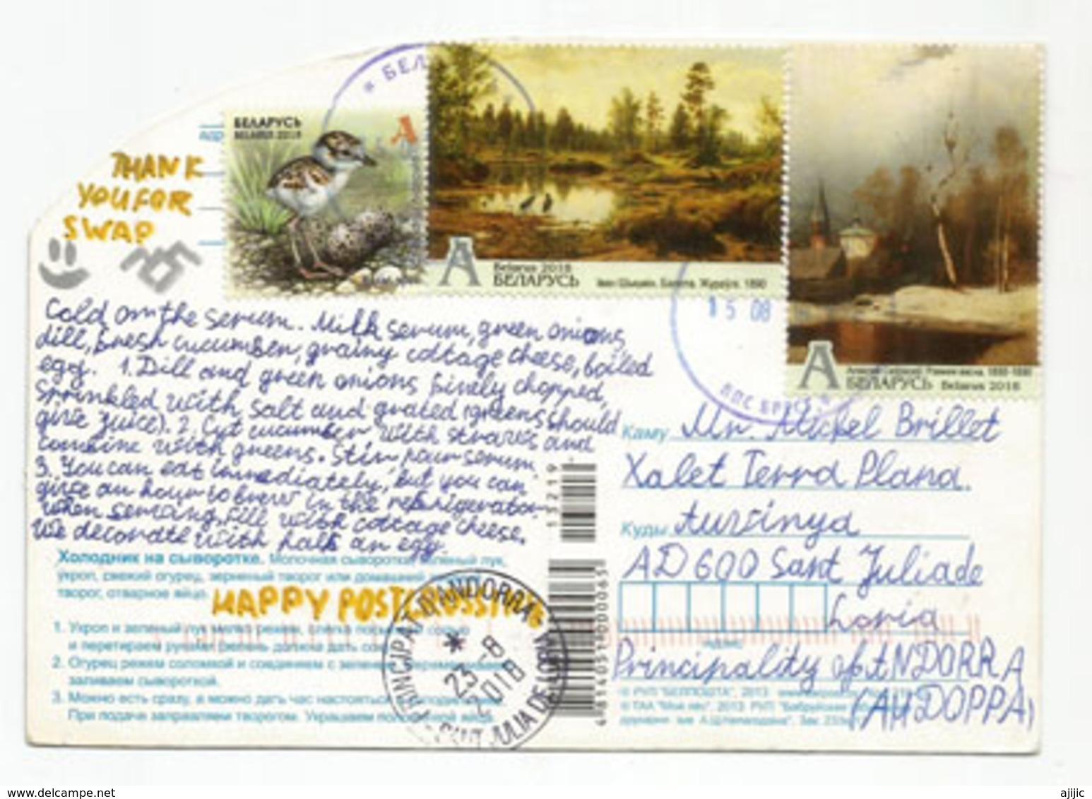 Soupe Au Lait De Biélorussie, Belle Carte Postale Adressée Andorra, Avec Timbre à Date Arrivée - Belarus