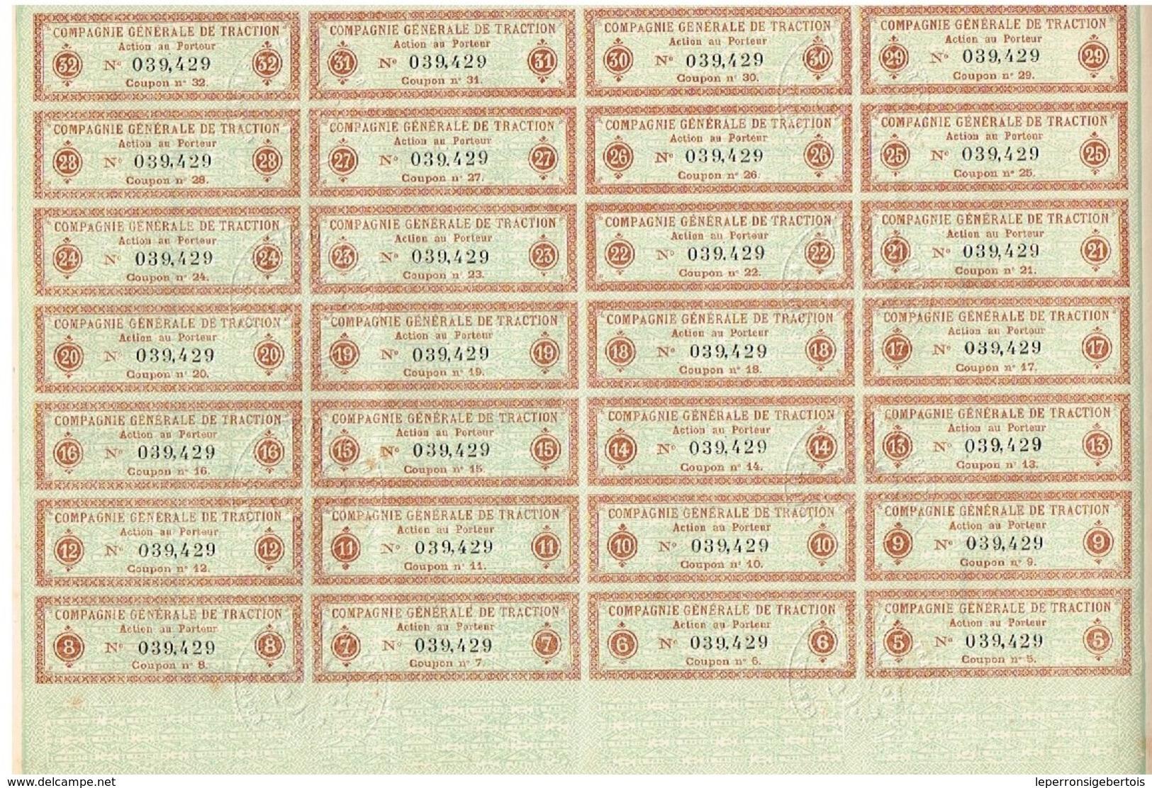Ancienne Action - Compagnie Générale De Traction  - Titre De 1902 - Déco - Imprimerie Chaix - Titre N°039429 - Chemin De Fer & Tramway