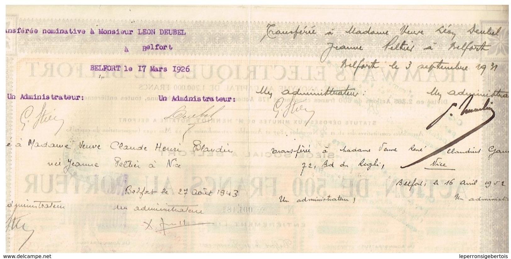 Action Ancienne - Tramways Electriques De Belfort - Titre De 1923 - N° 001181 - Chemin De Fer & Tramway