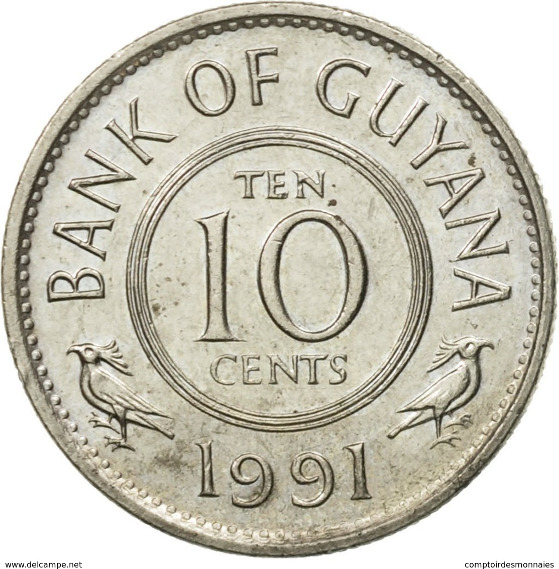 Monnaie, Guyana, 10 Cents, 1991, TTB, Copper-nickel, KM:33 - Guyana