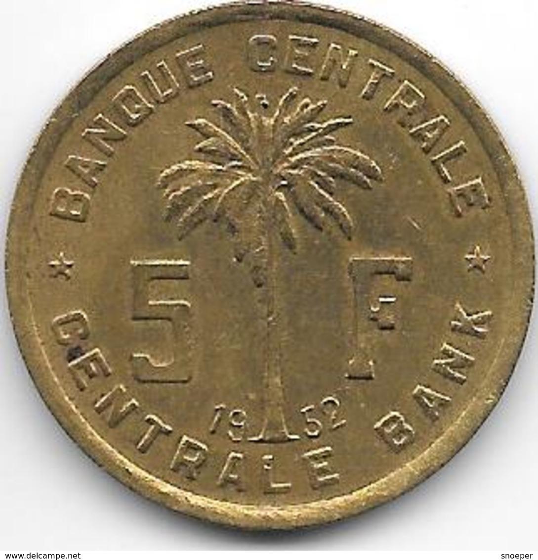 *belgium Congo 5 Francs  1952  Km 1 Xf - 1951-1960: Baldovino I