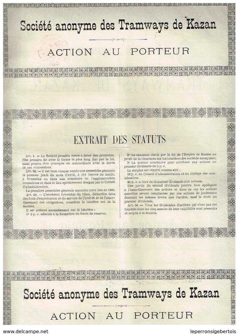 Action Ancienne - Société Anonyme Des Tramways De Kazan - Titre De 1898 - N°14531 - Chemin De Fer & Tramway