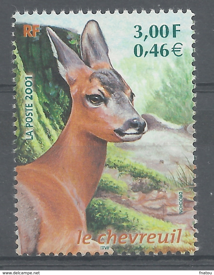 France, European Roe Deer (Capreolus Capreolus), 2001, MNH VF - France