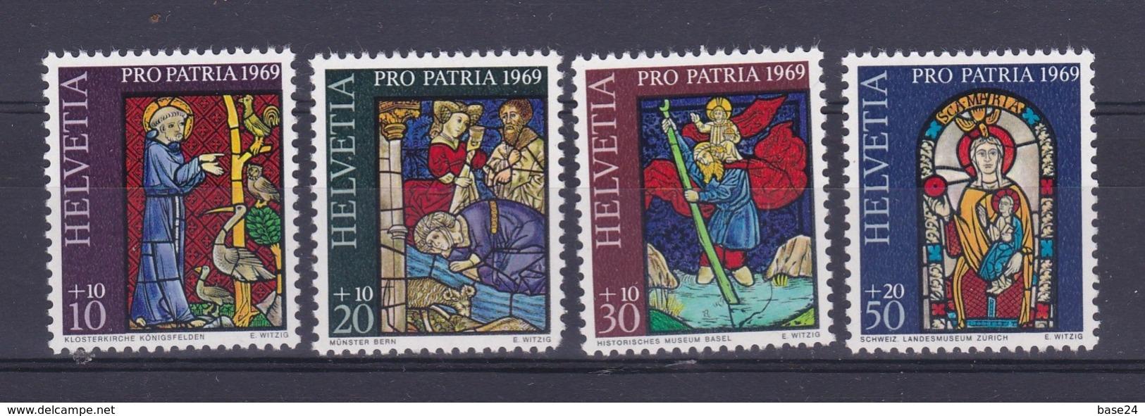 1969 Svizzera Switzerland HELVETIA PRO PATRIA Serie Di 4v. MNH** Vetrate - Nuovi