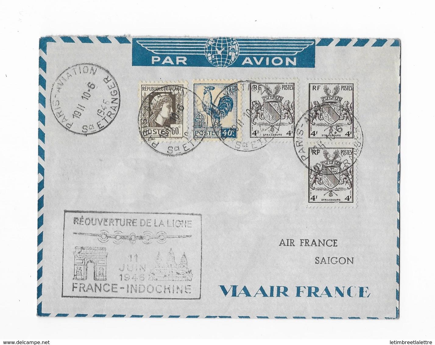Réouverture De La Ligne France-Indochine 1946 - Poste Aérienne