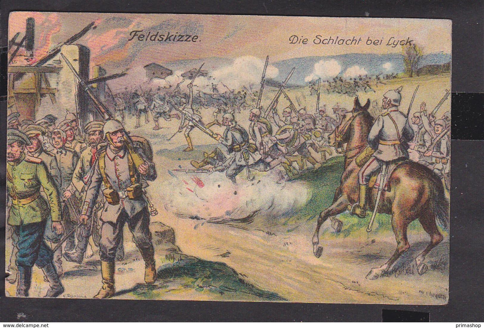 B27 /   Schlacht Bei Lyck  / Feldpost Landsturm Münster  1916 - Geldern - Ostpreussen