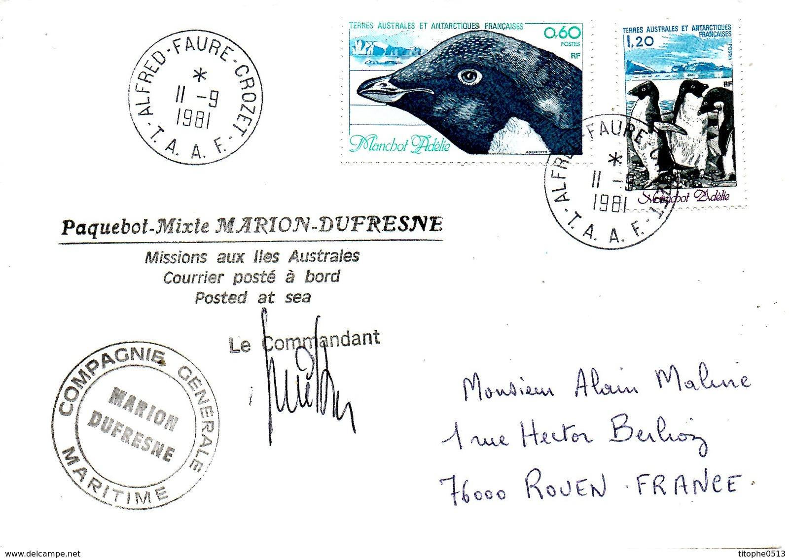 TAAF. N°87-8 De 1980 Sur Enveloppe Polaire De 1981. Manchot D'Adélie/Marion Dufresne. - Antarctic Wildlife