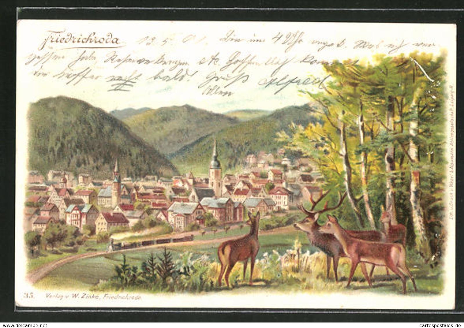 Lithographie Friedrichroda In Thüringen, Rehe Am Waldrand Blicken Auf Die Stadt - Friedrichroda
