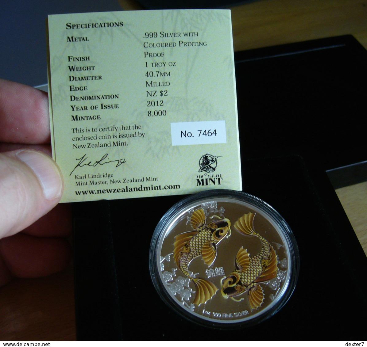 Niue, New Zealand, Feng Shui KOI 1 Oz 2012 Silver 99,9 % PROOF - 1 Oncia Argento Puro Bullion - Niue