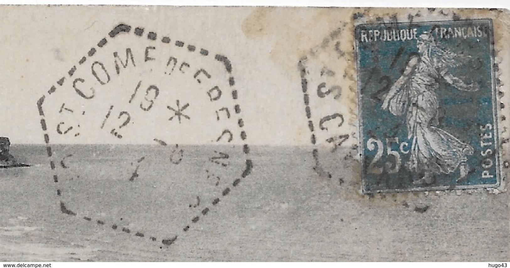 (RECTO / VERSO) ARROMANCHES EN 1924 - N° 19 - LES FALAISES - CACHET HEXAGONAL - CPA VOYAGEE - Arromanches