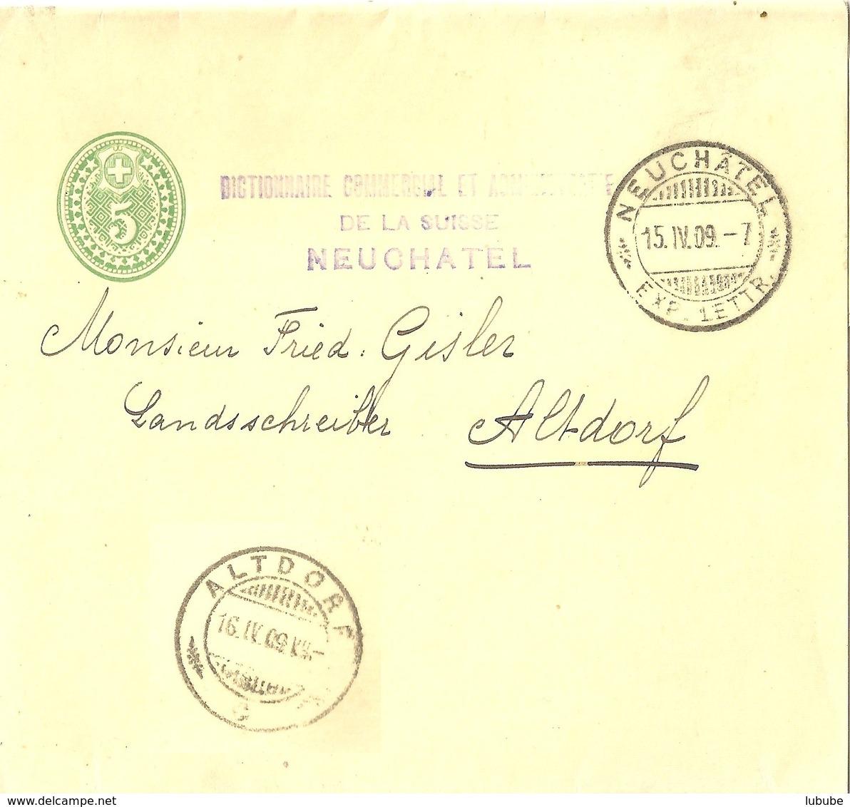 """Streifband 20a  """"Dictionnaire Commercial Et Administrative De La Suisse, Neuchâtel"""" - Altdorf           1909 - Interi Postali"""