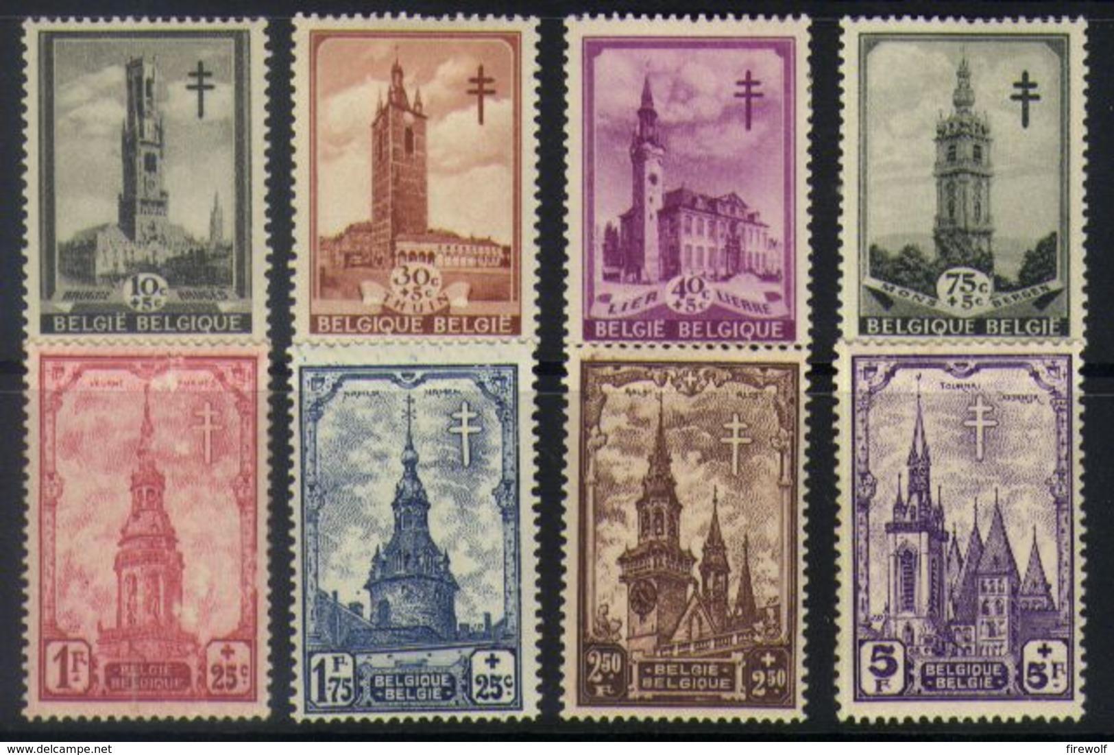 E17 - Belgium - 1939 - OBP 519/526 Mint Hinged - Turberculose Control / Belfries - Ungebraucht