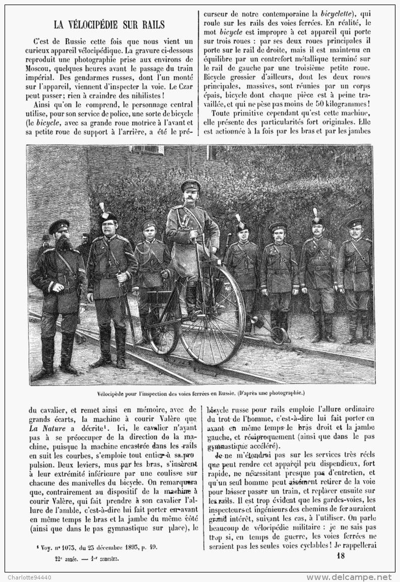 LA VELOCIPEDIE Sur RAIL   1894 - Transportation