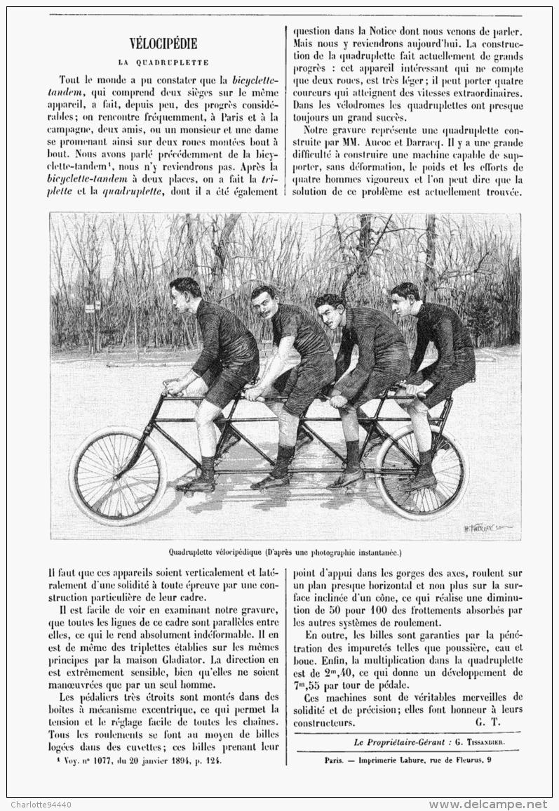 """VELOCIPEDIE :  La  """"  QUADRUPLETTE """"  1894 - Transportation"""