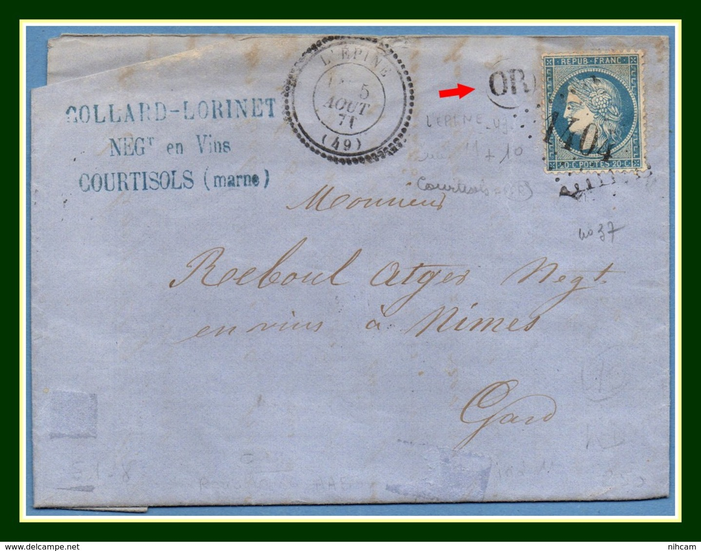 GC 1404 / N° 37 Type 24 L' Epine (49) 1871 + OR Courtisols > Nîmes T17 + Amb J+N (ind 11) - Postmark Collection (Covers)