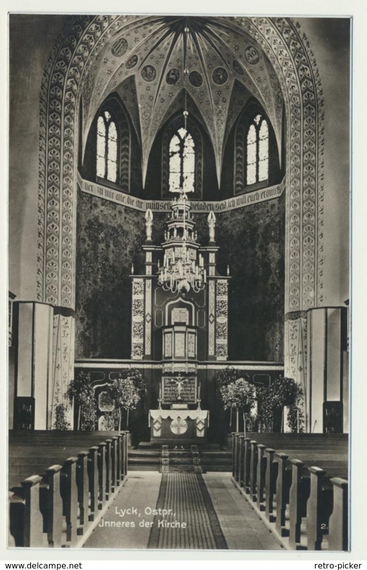AK  Lyck Ostpreussen Inneres Der Kirche - Ostpreussen